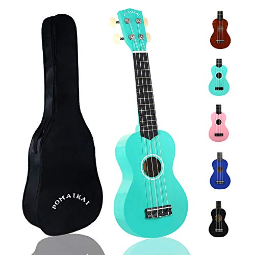POMAIKAI Soprano Wood Ukulele Rainbow Starter Uke Hawaii kids Guitar 21 Inch with Gig Bag for kids Students and Beginners (Light Blue)