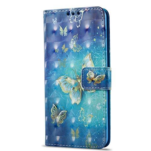 kompatibel mit Xiaomi Redmi 4A Hülle,3D Gemalt Muster Kristall Glitzer PU Leder hülle Flip Hülle Brieftasche Etui Wallet Tasche Schutzhülle für Xiaomi Redmi 4A,Gold Schmetterling