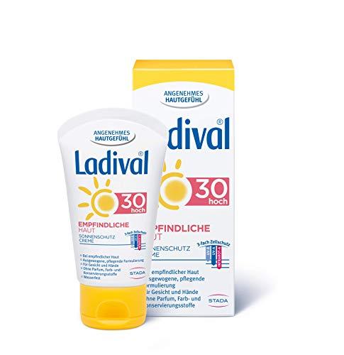 LADIVAL Empfindliche Haut Sonnenschutz Creme für das Gesicht LSF 30 - Parfümfreie Sonnencreme ohne Farb- und Konservierungsstoffe - wasserfest, 50 ml