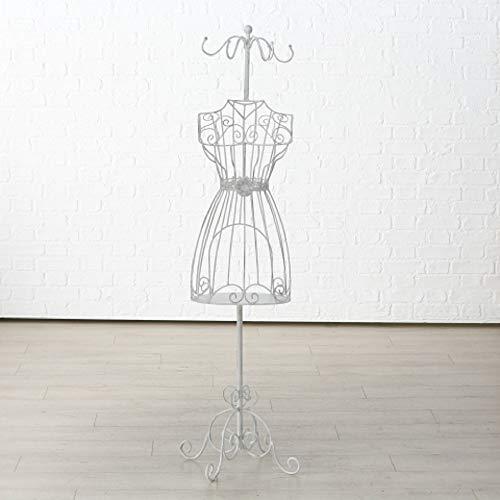 Home Collection Casa Organizzazione Guardaroba Attaccapanni Manichino da Sarta Indossatore Silhouette Donna in Ferro Battuto Bianco H 151 cm