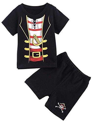 MOMBEBE COSLAND MOMBEBE COSLAND Baby Jungen Piraten Bekleidungssets Kurzarm 2 Stücke Baumwolle 18-24 Monate Schwarz