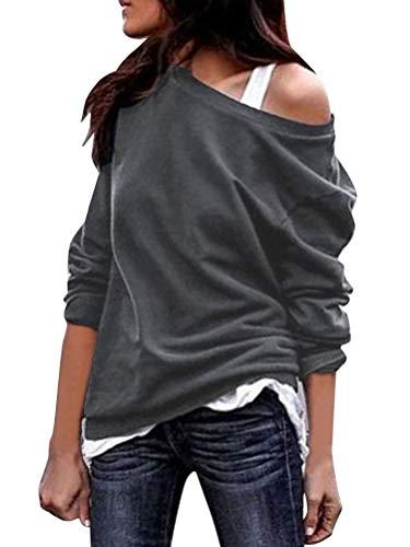 ORANDESIGNE Schulterfrei Oberteil Damen Langarm Pullover Langarmshirt Sweatshirt Sexy Oberteil Tops Hemd Grau DE 40