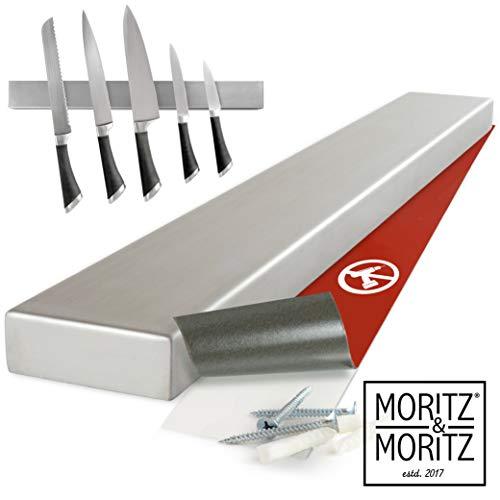 Moritz & Moritz® Messer Magnetleiste zum Kleben oder Bohren - Messerhalter Magnetisch Universal Einsetzbar - Edelstahl 40 cm - Magnetleiste Messer Küchenutensilien Werkzeugen