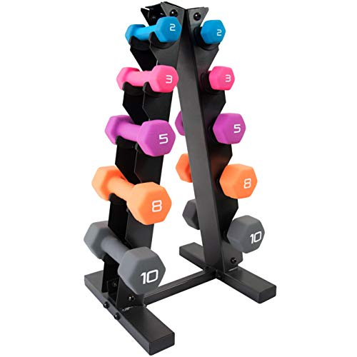 WF Athletic Supply Dumbbell Set with Storage Rack (56 LB Neoprene Dumbbell Set)