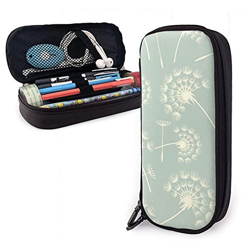 estuche Beige Dandelion Petals Flowers Leather Pencil Case Bag,Big Capacity Durable Zipper Pen Bag Box for Boys Girls Kids,Pencil Pouch Storage Makeup Cosmetic Bag School Supplies Sta