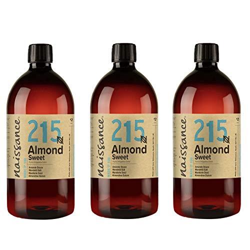 Naissance natürliches Mandelöl süß (Nr. 215) 1 Liter x 3 - Vegan, gentechnikfrei - Ideal zur Haar- und Körperpflege, für Aromatherapie und als Basisöl für Massageöle