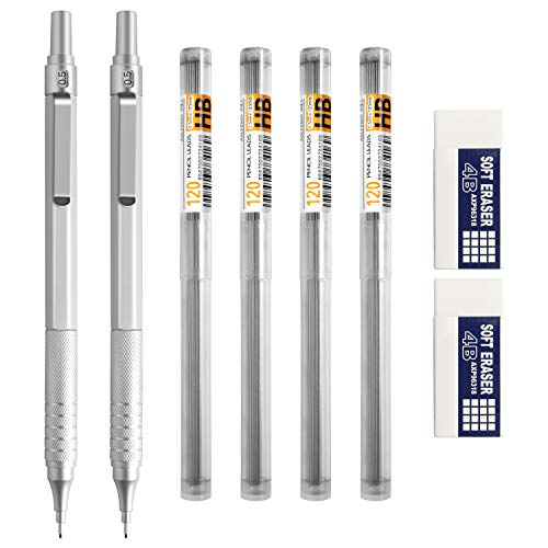 Mechanical Pencils, EXCELFU 0.5 mm Mechanical Pencil Metal Automatic Pencils with 4 Tubes HB Pencil Leads and 2 Erasers for Writing, Drawing, Signature