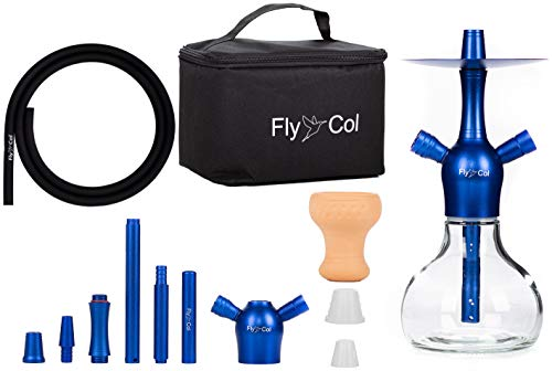 FlyCol Nano X Mini Shisha Set de viaje | Shisha de viaje con accesorios y bolsa | Cachimba pequeña para viaje Mini Shisha Nano Hookah (azul)