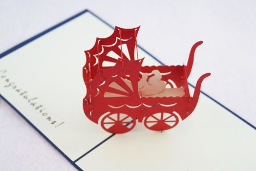 全100種以上☆立体ポップアップ グリーティングカード :立体乳母車 A-001 B 出産祝いカード (青) ベイビー ギフト 贈物