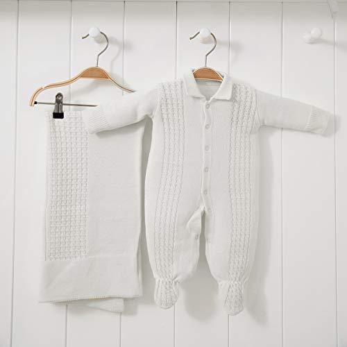 Saída De Maternidade Mami Tricot Modelo Trança Tamanho Rn 02 Peças, Papi Textil, Off White