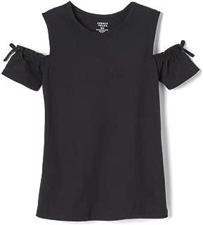 Girls' Short Sleeve Cold Shoulder Bow Top