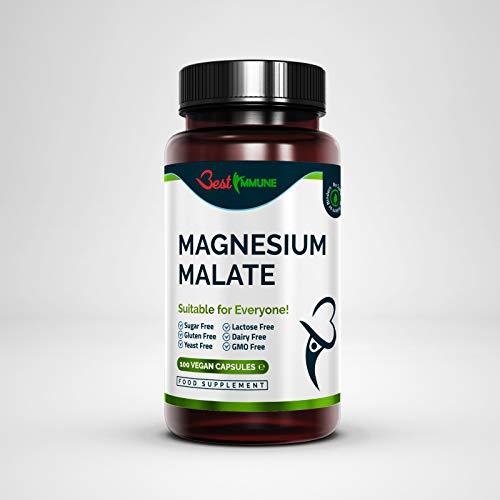 Natural Magnesium Malate 500mg Premium Grade Ideal Strength 100 Vegan...