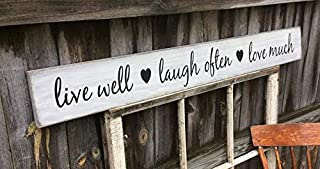 CELYCASY S-205 Handmade, Wood, Long Sign with Saying. Live Well Laugh Often Love Much. New Font and OH SO Popular. Kitchen or Dining Rustic Decor,