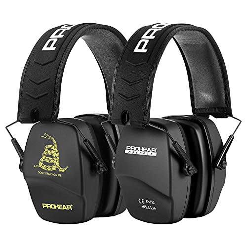 PROHEAR 016 2-Pair Shooting Ear Protection Safety Earmuffs, NRR 26dB Noise Reduction Slim Passive Hearing Protector with Low-Profile Earcups, Compact Foldable Muffs for Gun Range, Hunting