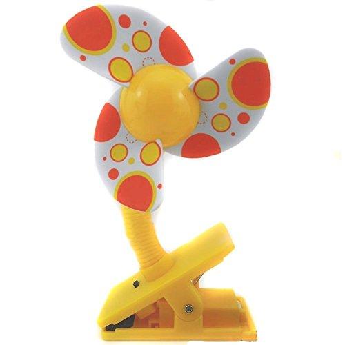 MiYan Mini-Ventilator für Kinderwagen, zum Anklippen, Gelb
