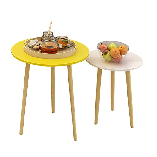 XQKXHZ Small Coffee Tables Bedside Table Set of 2 Round Wooden for Living Room Modern Nest of Tables with Anti-Slip Foot Pad Sofa Side Tables