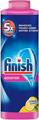Finish Powder Dishwasher Booster, Lemon Sparkle 14 oz Bottle, Hard Water Booster (Pack of 6)