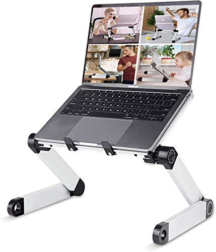 Adjustable Laptop Stand Table for Office, RAINBEAN Portable Lap Desk Stand Compatible Notebook Tablets MacBook,Foldable Lift Bracket Aluminum Ergonomics Design,Office or Home Desk Suitable for Ipad