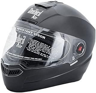 Steelbird SBA-1 Full Face Helmet with Plain Visor (Black, Large)