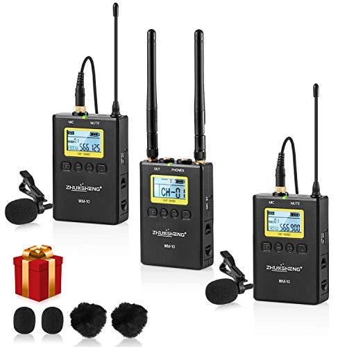 100 Canali Metallo Pieno Sistema di Microfoni Lavalier senza fili UHF con Trasmettitori Bodypack-Microfono a Risvolto senza fili per Fotocamera DSLR Videocamera XLR e Smartphone(2TX+1RX)-ZHUOSHENG