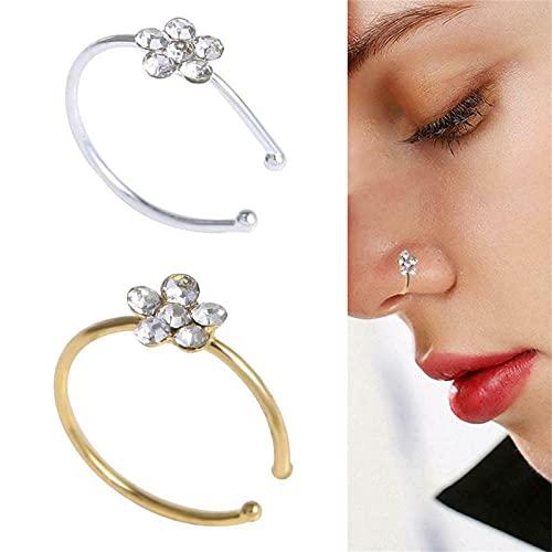 9mm Women Flower Nose Ring Fake Hoop Rhinestone Body Jewelry Piercing, Pequeña Flor Fina, Cristal Transparente, Anillo de Nariz, Aro, Anillo de Nariz, Aro de Cristal Brillante, 2 Piezas