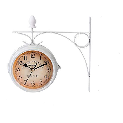 European-Style Retro Vintage Clock Double-Sided Station Clock Wall Clock Metal Classic Clock Home Decor Hanging Clock Wall Decor