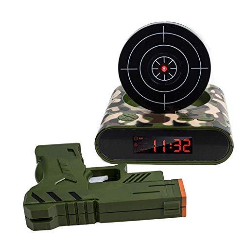 Pistola Reloj Despertador Gadget Objetivo Disparo láser Grabable Reloj de Escritorio electrónico Digital Reloj de Mesa Reloj Divertido Snooze para niños-Camuflaje