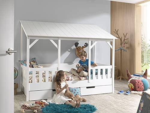 Vipack - Cama doméstica con Superficie de Descanso de 90 x 200 cm y cajón de Cama, Cuerpo Blanco Lacado, Techo Blanco