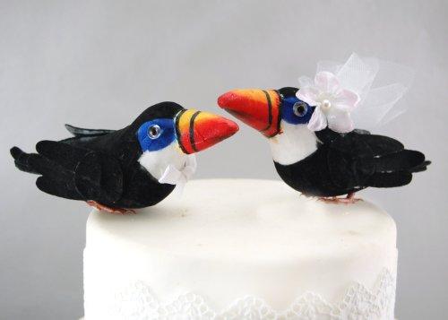 Tropical Karen's Cake Toppers-Topper con motivo tucano, colore: Nero e arancione: Paradise destinazione Bird-Decorazione per torta nuziale