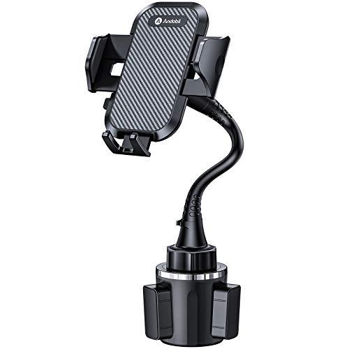andobil Handyhalterung Auto Getränkehalter, Ultimate Einfache Klemme Hände frei Handyhalter für Auto und verstellbare Schwanenhals Cupholder Autohalterung Kompatibel für iPhone 12/Samsung S21 Usw.