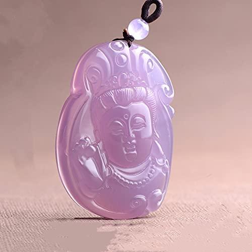 YYSD Colgante de Guanyin Tallado a Mano de calcedonia Rosa Natural, joyería de Moda para Hombres y Mujeres, Collar con Incrustaciones de Plata 925