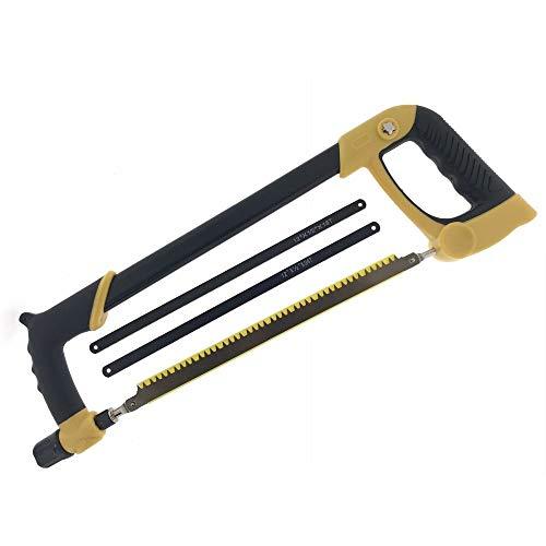 HPT Metallsäge 300mm lang - Bügel-Säge für Metall, Holz und Kunststoff - Sägeblatt wechselbar auf 0°, 45° und 90° - Profi Handsäge, Bügelsäge, Hacksaw