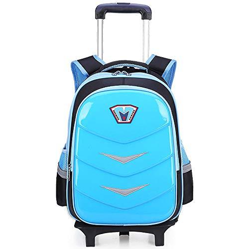 Children School Bags Girls Boys Trolley Backpacks Kids Travel Rolling Luggage Bag Removable Wheeled Backpack Child Schoolbag Blue 2 Wheels