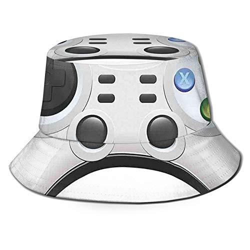Gamepad moderno con pulsanti di azione colorati con joystick e D-PadSun cappello secchio stile uomo e donna pieghevole pescatore spiaggia cappello protezione solare