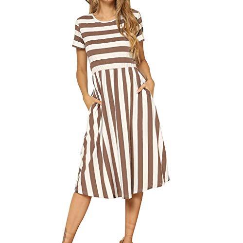 Kleider Damen Sommer Kurzarm Gestreifter Druck Taschen Beiläufig Swing Midi-Kleid