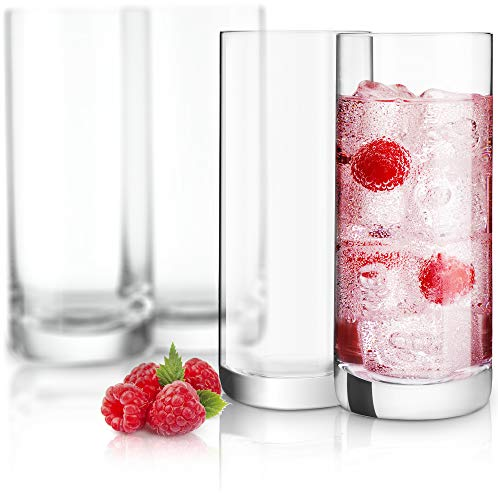JoyJolt Stella Lead Free Crystal Highball Glasses (Set of 4)-14.2-Ounces