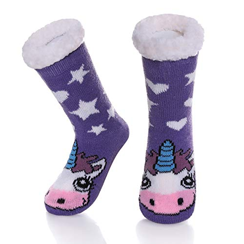 Children's Boys Girls Cute Animal Slipper Socks Fuzzy Soft Warm Thick Fleece Lined Winter Stockings Kids Toddlers Christmas Socks Purple Unicorn, 8-12 Years