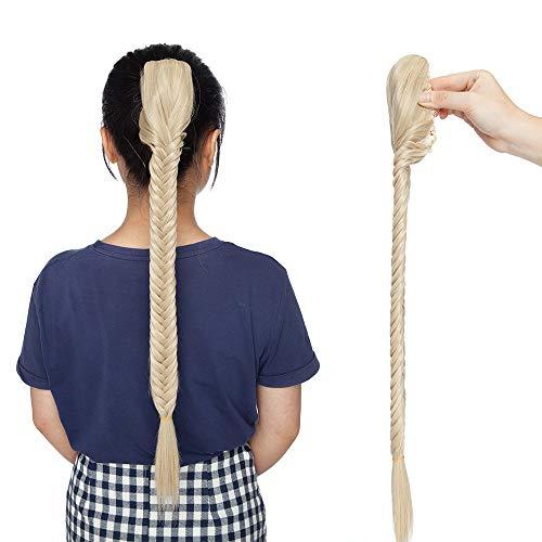Extensión de cabello Extensión Cabello trenzado aplicado con pinza Cola de caballo Trenza Cola de caballo falsa Extensiones sintéticas Postizos Mujer 51cm - Mezcla de rubio ceniza Rubio claro