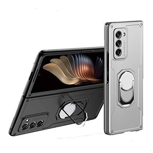 Lidada Resistente a los arañazos | Funda con función atril compatible con Samsung Galaxy Z Fold2 5G con soporte para anillo (2020), color plateado