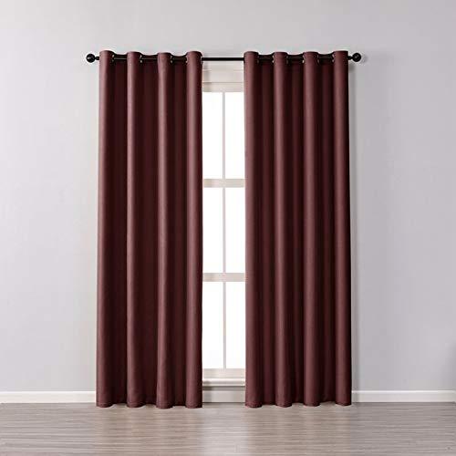VISZC 2 cortinas perforadas para oscurecer la vista con cortinas aisladas con una textura rizada para sala de estar, dormitorio, vino tinto, 100 x 270 cm
