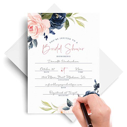 Bliss Collections Bridal Shower Invitations with Envelopes, 25 Fill-In 5x7 Invites with 25 Envelopes for Wedding Showers in Navy, Pink, Coral, Greenery Floral Cards for Bridal Party, Wedding Party