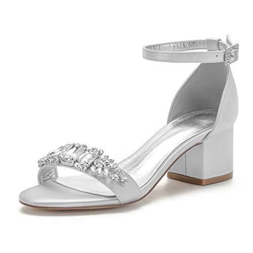 COMFASH Frauen Hochzeit Brautschuhe Niedrig Blockabsatz Peep Toe Knöchelriemen Satin Strass Kleid Party Sandalen,Silber,39 EU