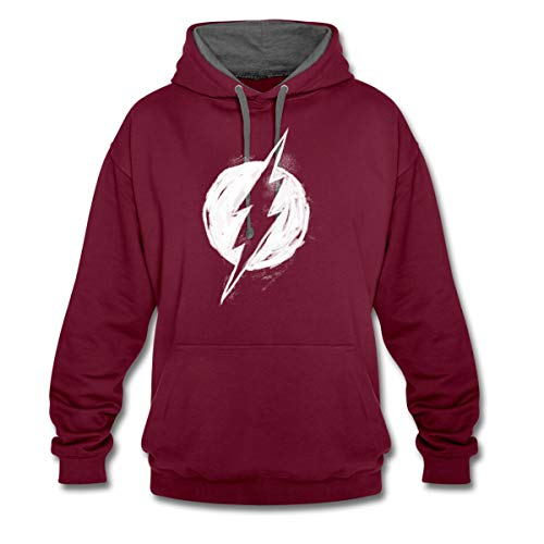 DC Comics Justice League The Flash Logo Kontrast Hoodie, XL, Weinrot/Anthrazit