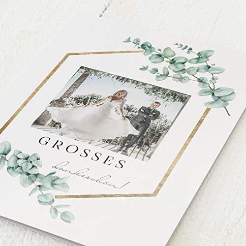 sendmoments Dankeskarten Hochzeit, Eukalyptus Leaves, 5er Klappkarten-Set C6, personalisiert mit Text & Fotos, wahlweise Relieflack-Veredelung, optional Design-Umschläge