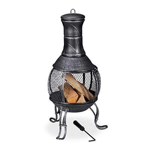 Relaxdays, Grey Chiminea, Heater, Poker, Grate, Spark Guard, Patio,Terrace, Antique Look, Firepit, Height 89 cm