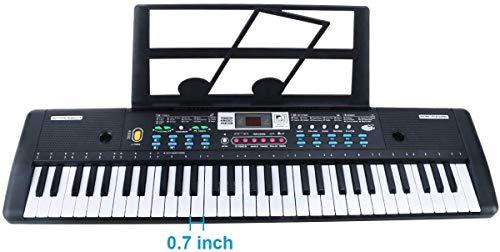 RenFox 61-Key Keyboard Piano with Microphone & Music Stand Portable Electronic Kids Piano Keyboard...