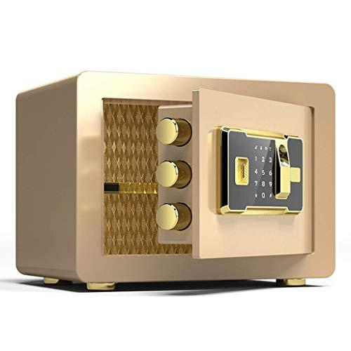 DJPP Cajas de Seguridad Cerradura de Llave Electrónica de Huellas Dactilares de Seguridad 35X30X30Cm Hoja de Puerta 10Mm Caja de Seguro de Tratamiento de Superficie de Alta Calidad,Oro