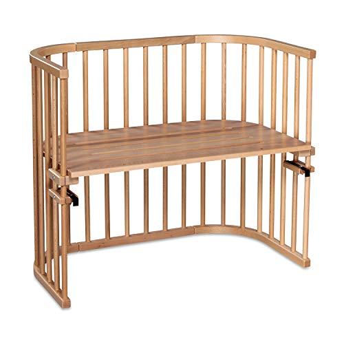 babybay Maxi extra großes Beistellbett aus massivem Buchenholz I Kinderbett Höhe stufenlos verstellbar & umweltfreundlich I mitwachsendes Babybett, natur lackiert