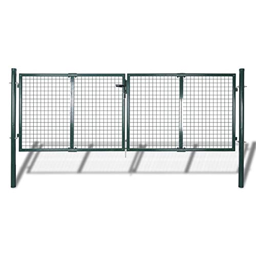 Garden Fence Gate Galvanised Steel with a Powder Coated Finish,Green,Total Size: 306 x 150 cm,Gate Size: 289 x 100 cm,Post Diameter: 60 mm,gainst Rust and Corrosion,by BIGTO(3 Keys)