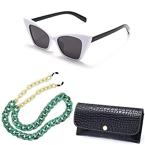 Gafas de Sol para Mujer, Lentes Tipo Ojo de Gato Estilo a la Moda, UV400 Protección para Viajes Conducir, Ultra ligeras y Resistentes al Agua, Collar de Anteojos, Cadena Acrílico, Negro Cuero Estuche